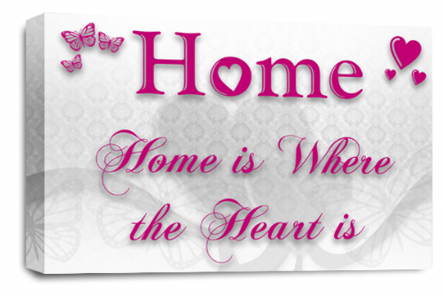 Home Quote Wall Art Picture White Plum Pink Love Print
